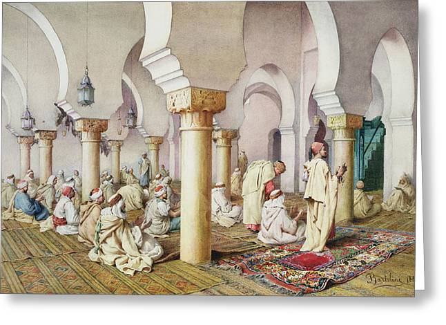 Orientalist Greeting Cards - At Prayer in the Mosque Greeting Card by Filipo Bartolini or Frederico