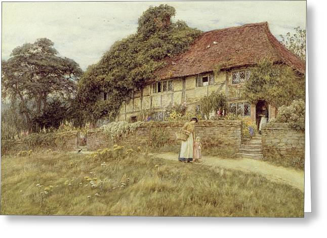 Half-timbered Greeting Cards - At Stedham near Midhurst Greeting Card by Helen Allingham