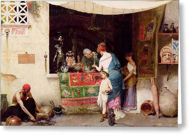 Roman Streets Greeting Cards - At the Antiquarian Greeting Card by Vitorio Capobianchi