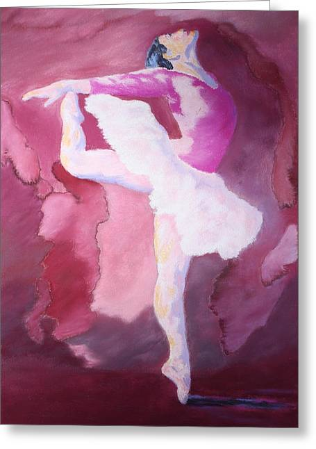 People Pastels Greeting Cards - At the Ballet Greeting Card by Nancy Jolley