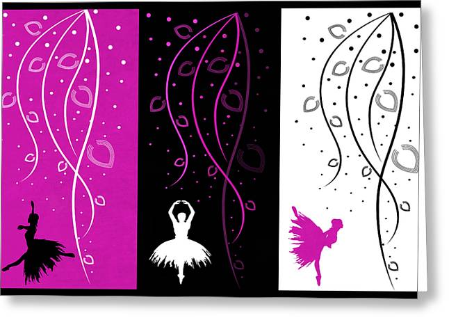 Prima Ballerina Digital Art Greeting Cards - At The Ballet Triptych 2 Greeting Card by Angelina Vick