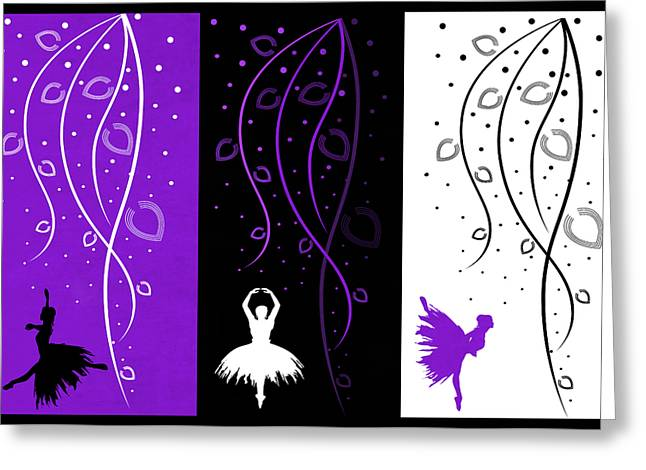 Prima Ballerina Digital Art Greeting Cards - At The Ballet Triptych 3 Greeting Card by Angelina Vick