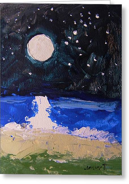 Moon Beach Drawings Greeting Cards - At the Beach Greeting Card by John  Williams