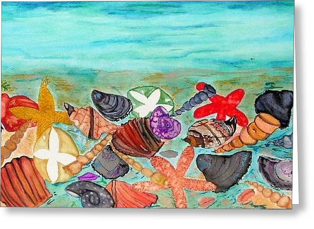Shell Sign Paintings Greeting Cards - At The Beach Greeting Card by Katina Cote
