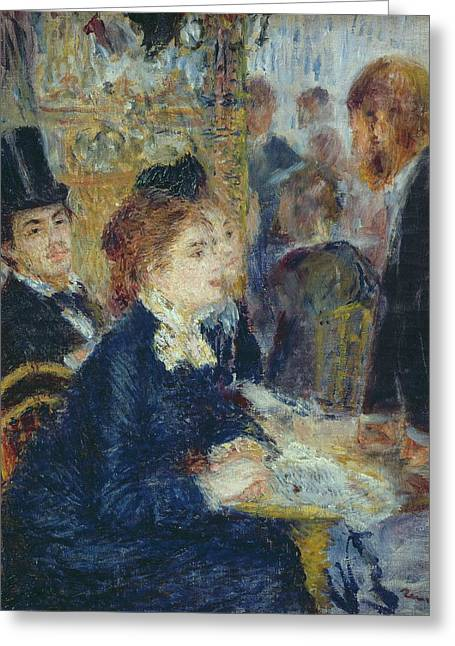 Renoir. Interior Paintings Greeting Cards - At the Cafe Greeting Card by Pierre Auguste Renoir