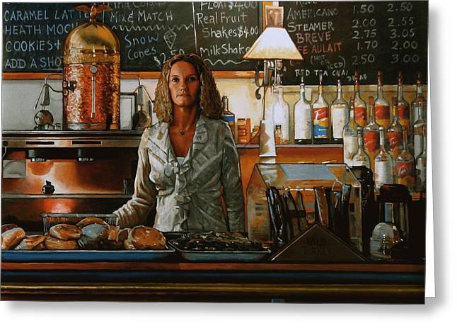 Waitress Paintings Greeting Cards - At the Coffee Mill Greeting Card by Doug Strickland