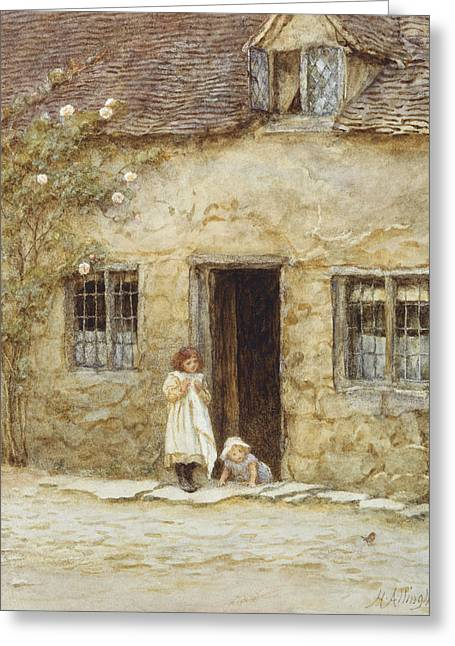 Entrance Door Greeting Cards - At the Cottage Door Greeting Card by Helen Allingham
