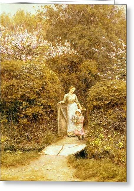 At The Cottage Gate Greeting Card by Helen Allingham