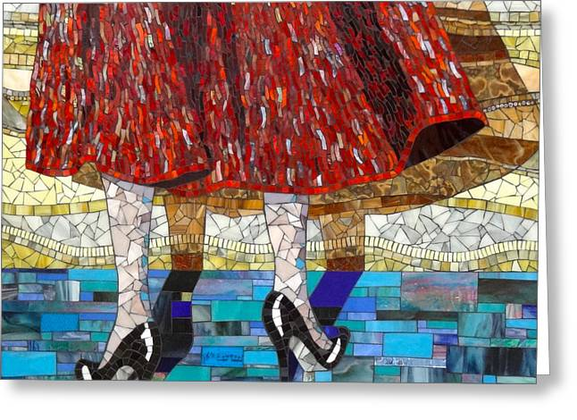 Dance Glass Art Greeting Cards - At the Dance Greeting Card by Barbara Benson Keith
