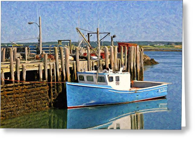 Boats At The Dock Greeting Cards - At the Dock Greeting Card by Dominic Piperata