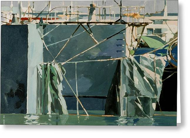 Sausalito Paintings Greeting Cards - At The Docks 1 Greeting Card by Andrew Drozdowicz