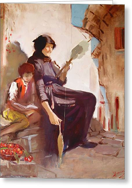 Old Lady Greeting Cards - At the Doorstep Greeting Card by Ylli Haruni