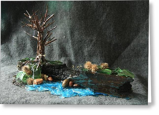 Blue Green Water Sculptures Greeting Cards - At the Edge Greeting Card by Mariann Taubensee