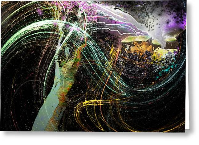 Town Mixed Media Greeting Cards - At The End of The Cosmos Greeting Card by Miki De Goodaboom