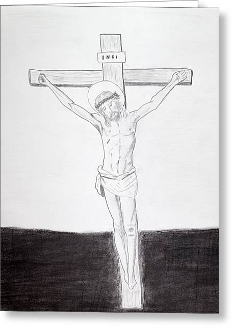 Crucifix Drawings Greeting Cards - At the end of the day Greeting Card by Cathy Jourdan