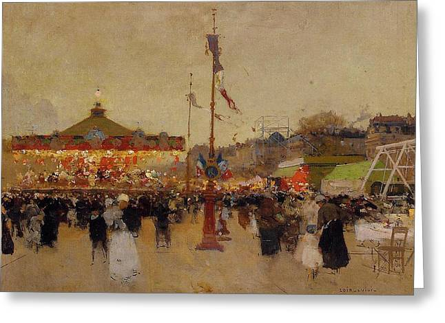 Old Paintings Greeting Cards - At the Fair  Greeting Card by Luigi Loir