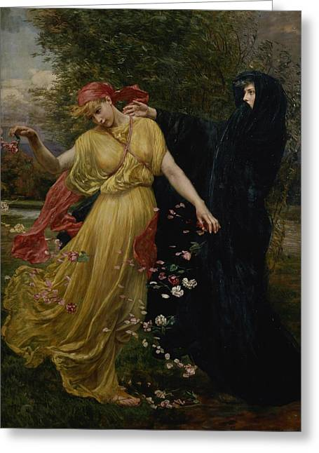 Black Scarf Greeting Cards - At The First Touch of Winter Summer Fades Away Greeting Card by Valentine Cameron Prinsep