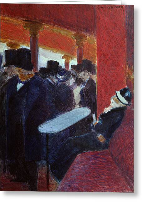 Ballet Bar Greeting Cards - At the Folies Bergeres Greeting Card by Jean Louis Forain