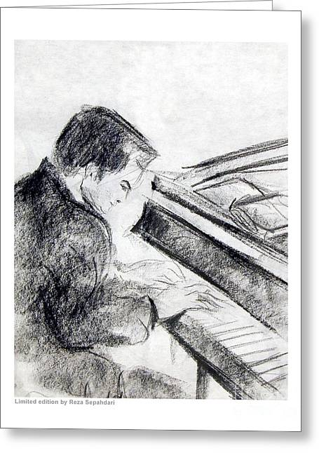 Love Coffee And Music Greeting Cards - At the Ivories Greeting Card by Reza Sepahdari