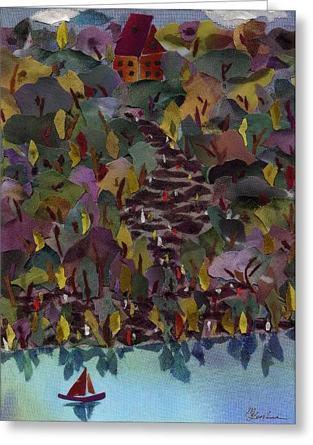 Lake Tapestries - Textiles Greeting Cards - At the Lake Greeting Card by Marina Gershman