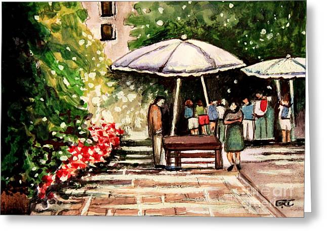 Impressionistic Market Greeting Cards - At the Market Greeting Card by Elizabeth Robinette Tyndall