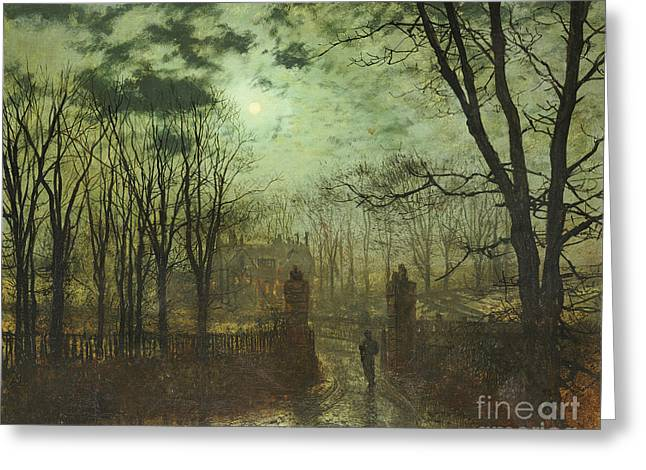 Gloom Greeting Cards - At the Park Gate Greeting Card by John Atkinson Grimshaw