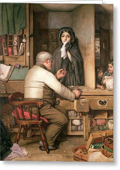 Impoverished Greeting Cards - At the Pawnbroker Greeting Card by Thomas Reynolds Lamont