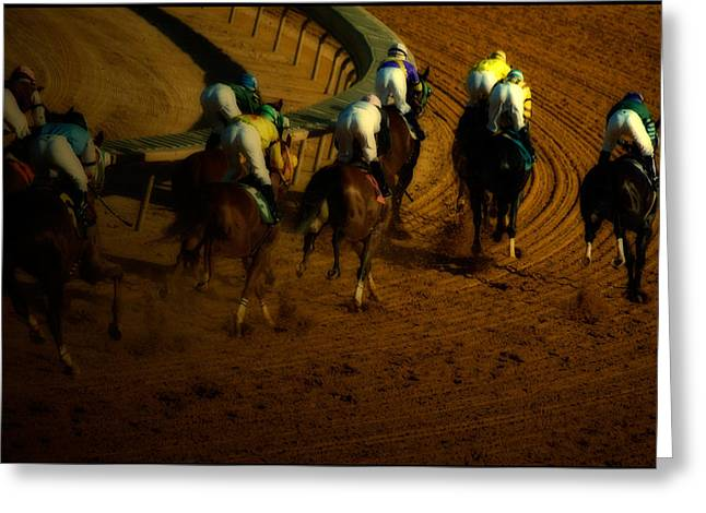 Horseback Riding Digital Art Greeting Cards - At the Race Track Greeting Card by Steven  Digman