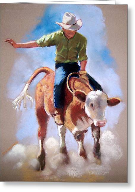 Competition Pastels Greeting Cards - At The Rodeo Greeting Card by Joyce Geleynse