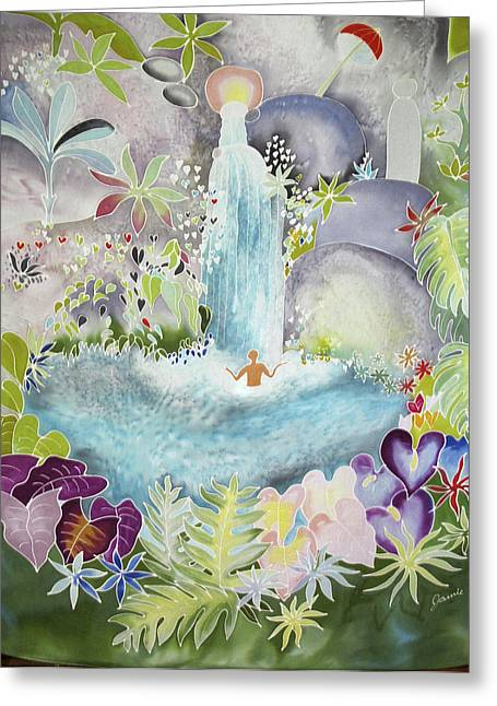 Lingam Greeting Cards - At the Sacred Spring Greeting Card by Joanie Mitchell