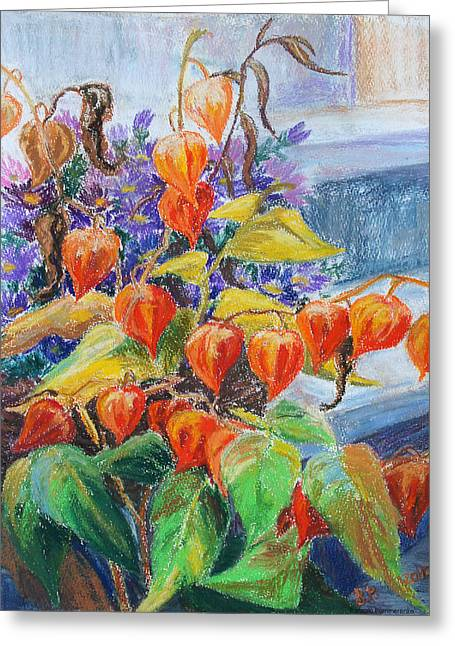 Aster Pastels Greeting Cards - At The Steps Greeting Card by Barbara Pommerenke