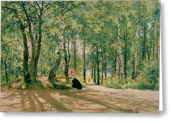 Ivan Greeting Cards - At the Summer Cottage Greeting Card by Ivan Ivanovich Shishkin