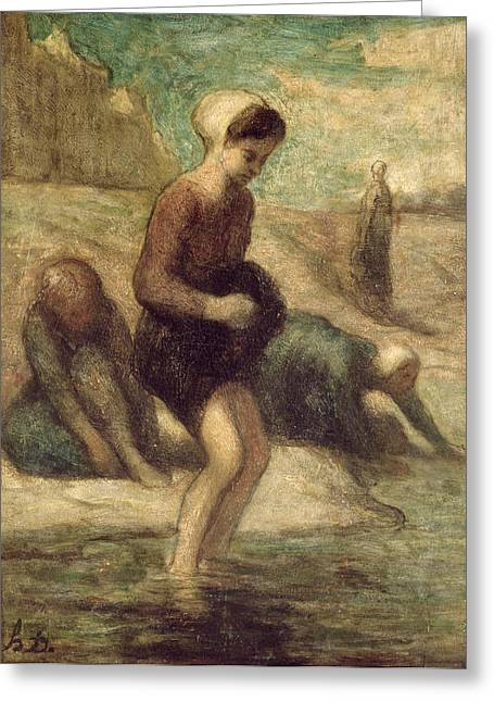 Washerwomen Greeting Cards - At the Waters Edge Greeting Card by Honore Daumier