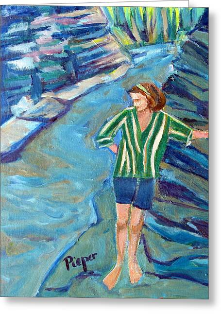 Striped Blouse Greeting Cards - At Wintergreen Park Canajoharie Greeting Card by Betty Pieper