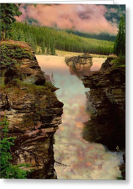 Athabasca Falls Evening Greeting Card by Shirley Sirois