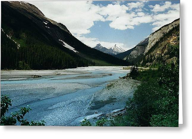 Dark Grey Greeting Cards - Athabasca River Greeting Card by Shirley Sirois