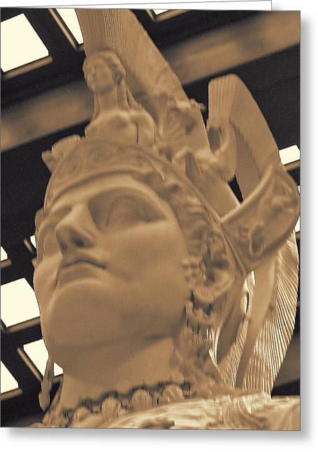 Greek Sculpture Greeting Cards - Athena Sculpture Sepia Greeting Card by Linda Phelps