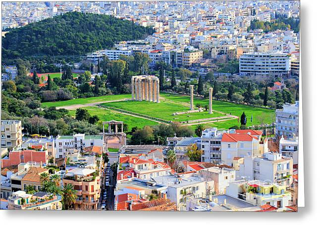 Acropolis Greeting Cards - Athens - Temple of Olympian Zeus Greeting Card by Hristo Hristov