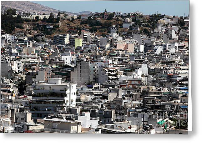 Old School House Greeting Cards - Athens Cityscape II Greeting Card by John Rizzuto