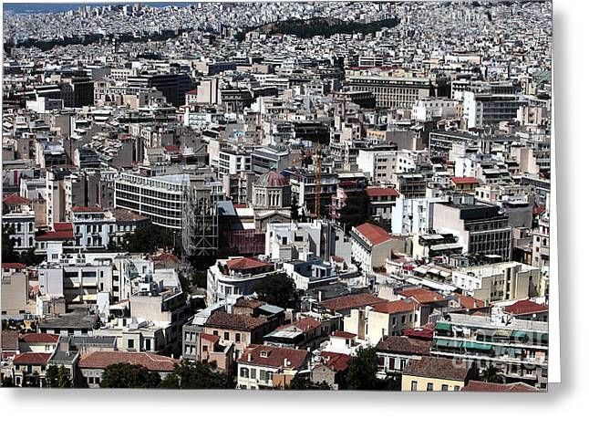 Old School House Greeting Cards - Athens Cityscape III Greeting Card by John Rizzuto
