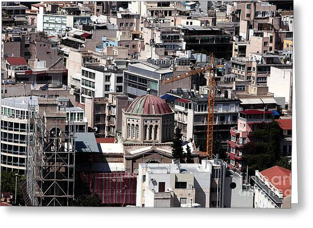 Old School House Greeting Cards - Athens Cityscape V Greeting Card by John Rizzuto