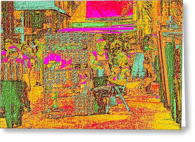 Van Gogh Style Greeting Cards - Athens Omonia Square in Van Gogh bright style Greeting Card by James Stanfield