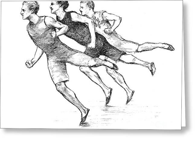 Footrace Greeting Cards - Athletics: Track, 1890 Greeting Card by Granger