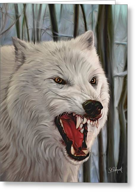 Sue Brehant Greeting Cards - Atka Arctic Grey Wolf Greeting Card by Sue  Brehant