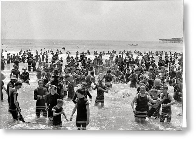 Swimmers Greeting Cards - Atlanta Beach 1910 Greeting Card by Stefan Kuhn