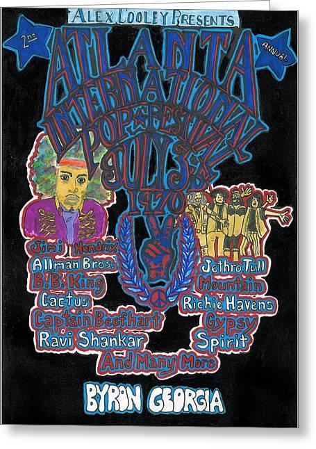 Jimi Hendrix Drawings Greeting Cards - Atlanta International Pop Festival Greeting Card by David Sutter