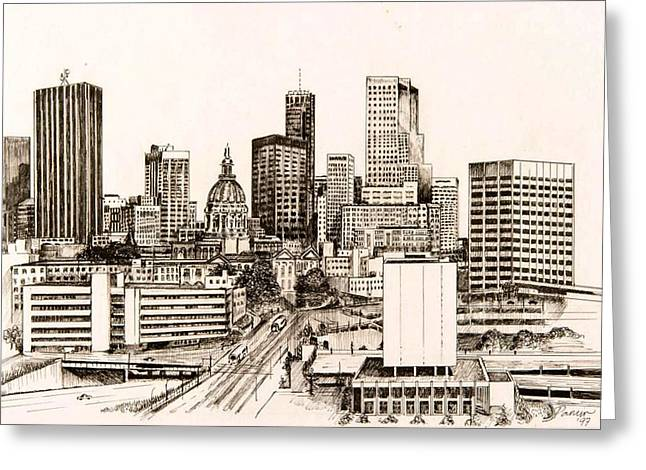 Downtown Drawings Greeting Cards - Atlanta Skyline Greeting Card by Pamir Thompson