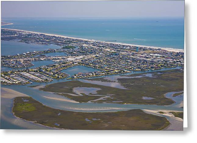 Atlantic Beaches Greeting Cards - Atlantic Beach Beaufort Aerial Greeting Card by Betsy C  Knapp