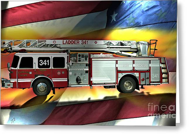 Fireman Posters Greeting Cards - Atlantic Beaches L341 Greeting Card by Tommy Anderson