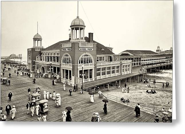 Steel Pier Greeting Cards - Atlantic City Steel Pier 1910 Greeting Card by Bill Cannon